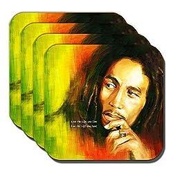 Cushions Corner Bob Marley Untersetzer Jamaican Sänger Musiker Live Life You Love - 4er Set