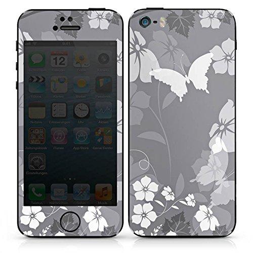 Apple iPhone SE Case Skin Sticker aus Vinyl-Folie Aufkleber Blume Schmetterling Grau DesignSkins® glänzend
