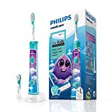 Philips Sonicare for Kids Electric Toothbrush with Bluetooth, Coaching App, 2 Brush Heads, 2 Modes and 8 stickers For Customisation - HX6322/04