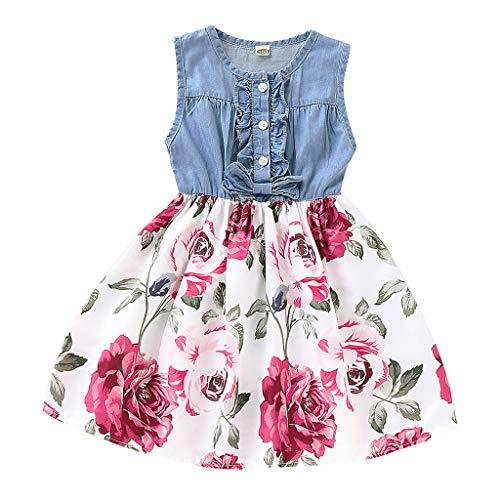 Julhold Kleinkind Art Baby Mädchen Mode Ärmellos Denim Floral Bedruckte Prinzessin Kleid Kleidung Sommer 1-5 Jahre Neu