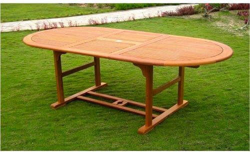 Amicasa. Tavolo da Giardino Allungabile in Legno 150/200x100 cm Ovale Creta