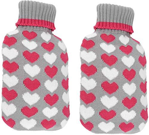 Bambelaa! 2er Set Große Wärmflaschen Bettflaschen Flauschbezug weiß pink Wärmekissen Strickmuster Herz Design (2 x 2 Liter) (Grau)