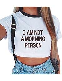 Baijiaye Camiseta Para Mujer Patrón Impreso Crop Top Chica Joven Casual De Moda Media Cintura Top Corto Blusas De…