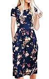 ECOWISH Damen Retro Rundhals Knielang mit Blumen Rockabilly Kleid Partykleid Festliches Kleid Blau XL
