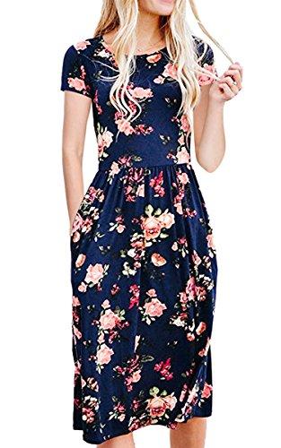 ECOWISH Damen Retro Rundhals Knielang mit Blumen Rockabilly Kleid Partykleid Festliches Kleid Blau M
