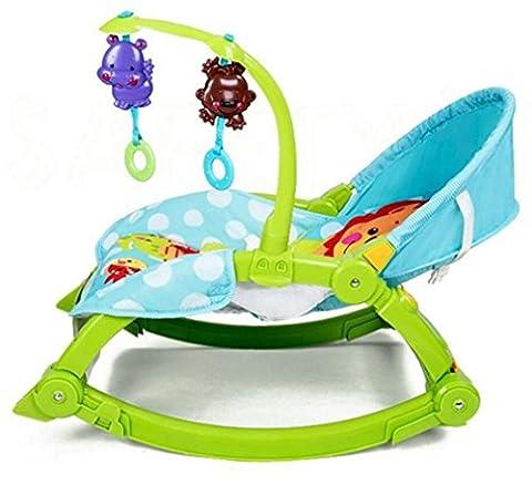 NWYJR Infantile Rocker pliable Portable nouveau-né adapté Vibration Timing Swing Transat Transat , green
