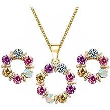 PRESKIN Funkelndes Schmuck-Set mit Halskette + Ohrringen   runder Kristall-Anhänger an feiner Kette mit passenden runden Ohrsteckern   violett pink gold