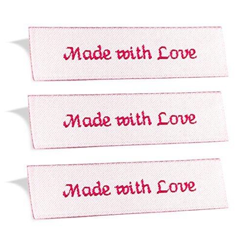 wunderlabel mit Liebe gemacht gewebt Tag Kleidung nähen Kleidung Garment Stoff Material Schleife Label 100 Labels Red on Off White -