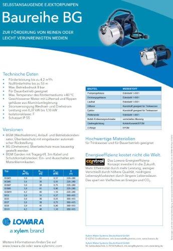 LOWARA BGM7 HP Selbstansaugende horizontale Kreiselpumpe 1.00 / 0.75 KW - 1x 230V - 6
