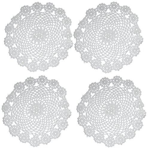 Kilofly tovagliette all'americana, centrini di cotone a uncinetto, confezione da 4 pezzi, motivo: ghirlanda, 17,78 cm, cotone, bianco, 18 cm