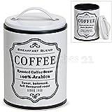 matches21 Metall Vorratsdose Aufbewahrungsdose Kaffeedose mit Deckel weiß Retro Aufdruck Coffee 1 Stk Ø 10x16 cm