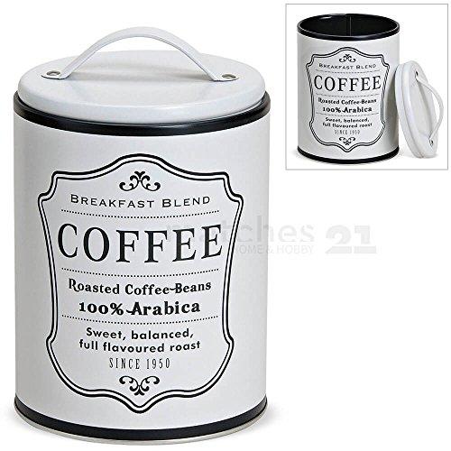 matches21 Metall Vorratsdose Aufbewahrungsdose Kaffeedose mit Deckel weiß Retro Aufdruck Coffee 1...