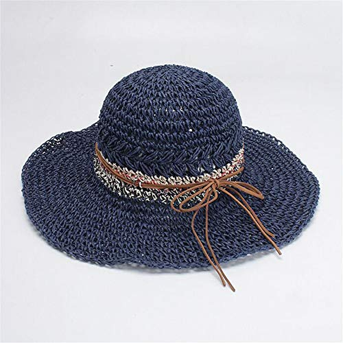 ZXCVBW Bogen Strohhut Damen Sommer Strand Sonnenhut zusammenklappbar Panama Sombrero, blau - Sombrero Panama
