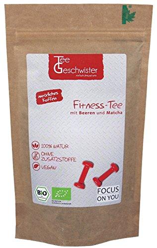 Tee-Geschwister BIO Fitness Grüner-Tee | natürliches Koffein aus Sencha Matcha & Oolong kombiniert mit Ingwer Himbeeren Erdbeerstücken & Holunderbeeren | ohne Zusätze | 90g