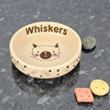 Personalised Cat Stitch Small Brown Cat Bowl - Personalised - Cat Bowls - Pet Gifts