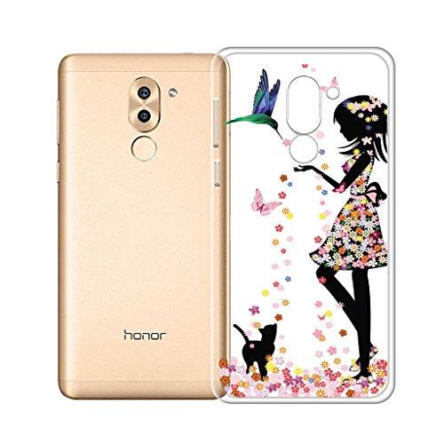 Hülle für Huawei Honor 6X , IJIA Ultradünne Transparente Marmormuster Natürliche Elfenbein Weiß TPU Weich Silikon Stoßkasten Cover Handyhülle SchutzCover Handyhüllen Schale Case Tasche für Huawei Honor 6X