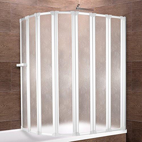 Schulte Duschwand Bien inkl. Handtuchhalter, 159x140 cm, 7-teilig faltbar, Kunstglas Tropfen-Dekor, Profilfarbe alpin-weiß, Duschabtrennung für Badewanne und Eckwanne
