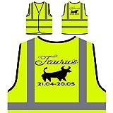 Tauro, signo del zodiaco Chaqueta de seguridad amarillo personalizado de alta visibilidad b47v