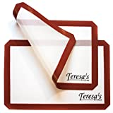 Teresa's Kitchen - 2x Tapis de cuisson en silicone - Anti-adhésif - Résistant à la chaleur - Cuisson Saine - Convient à l'usage alimentaire certifié - Réutilisable - Lot de 2 - 42cm x 28cm - bordeaux