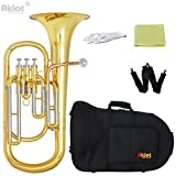 Aklot Professional Bb Baritone Horn Saxhorns Baryton Corne Cupronickel Tuning Pipe Gold Brass Leadpipe Embouchure Plaqué Argent Or Lacé En Laiton Corps Acier Inox Valves Avec Boitier