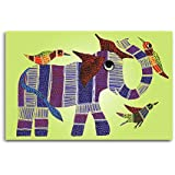 Tamatina Gond Canvas Paintings - Elephant With Birds - Tribal Painting - Traditional Gond Paintings - Rajasthani Paintings - Paintings For Bed Room - Gond Paintingsfor Living Room - Paintings For Wall