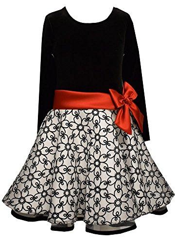 Traum Samt-Petticoatkleid in schwarz/weiß von Bonnie Jean Gr. 104,110,116,122,128,124,140,164,170 (170) (Mädchen-schwarz-samt-kleid)