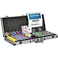 Nexos Pokerkoffer Pokerset 500 300 Laser Pokerchips Poker Komplett Set 12 g Chips Deluxe Größe wählbar