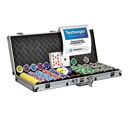 Nexos Pokerkoffer Pokerset 500 Laser Pokerchips Poker Komplett Set 12 g Chips Deluxe