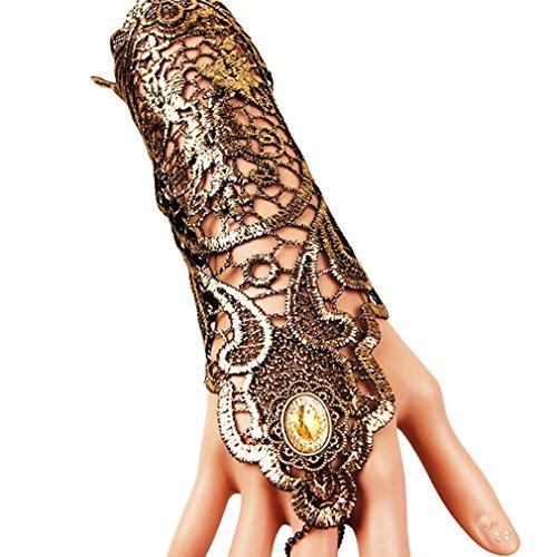 EROSPA® Gothic Steampunk Handstulpe mit Brosche - Handschuhe - Damen - Gold / schwarz - 1 - Viking Kostüm Bilder