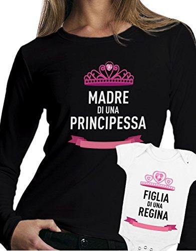 t-shirt manica lunga e body festa della mamma - Madre di una principessa, Figlia di una regina, love -tutte le taglie uomo donna maglietta by tshirteria