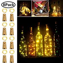 FANSIR Wine Bottle Lights with Cork, Battery Operated 20 LED Cork Shape Copper Wire Fairy Mini String Lights for DIY, Party, Decor, Wedding Indoor Outdoor (Warm White)