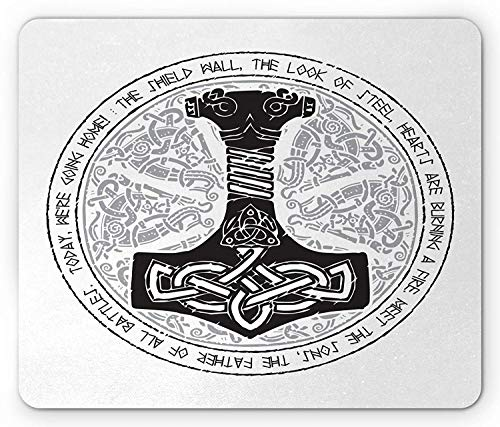 Mjolnir Mouse Pad, Woodcut Style Vintage Sacred Hammer Ancient Viking Norse Thor Mythological, Standard Size Rectangle Non-Slip Rubber Mousepad, Black and White 9.8 X 11.8 inch -