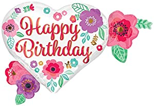 Amscan International 3561501 Happy Birthday - Globo de Papel de Aluminio con impresión Floral