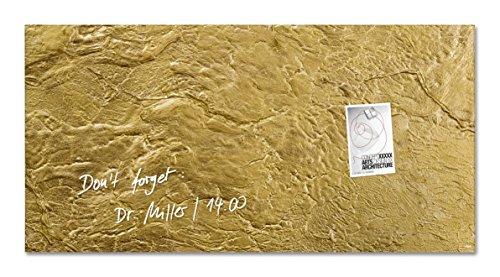 Sigel GL266 Glas-Magnetboard/Magnettafel artverum Gold-Optik, 91 x 46 cm - weitere Designs/Größen (Gold-highlights Led)