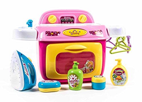 Preisvergleich Produktbild Spiel-Set Wäscherei mit Licht- und Soundeffekten,Tastschalter, Waschmaschine, Bügelfläche, Waschbecken, Ablage, viel Zubehör, 13-teilig