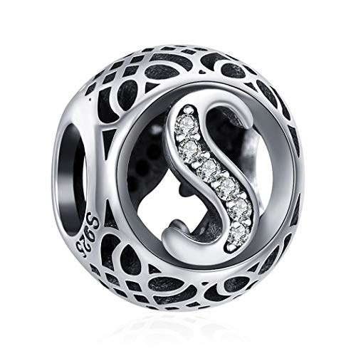 ChicSilver Nouveau Style de Alphabet Charm A à Z en Argent Sterling 925 Plaqué AAA+CZ Femme Colliers Bracelets Transparent Perles DIY pour Bracelet ou comme Pendentif Lettre S