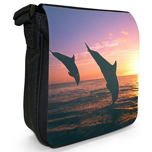 Delfini piccolo nero Tela Borsa a tracolla, taglia S Dolphins In The Sunset
