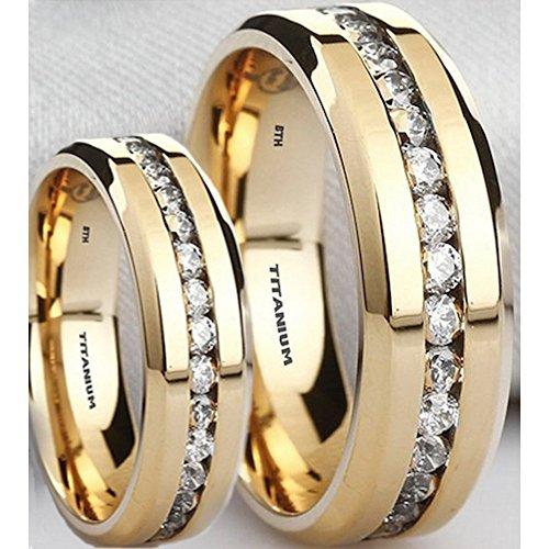 De 6Mm De Titanio a juego o su tono de oro de imitación de diamantes clásico Titanio Boda Banda compromiso anillo R