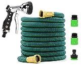 GARDENWONDER Pro flexi Gartenschlauch, professionelle Messing-Anschlüsse, extrastarkes ToughRock Nylon Außengewebe, mehrschichtiger Latex Innenschlauch, inkl. Brause und Schnellkupplung, verschiedenen Längen (15 Meter)