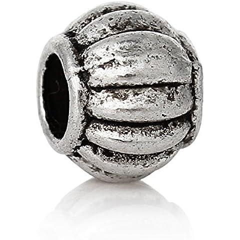 50x perle di metallo 6x 5mm argento anticato Lampion