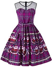 Schwarzer Freitag Kleider Damen Pullover Kleid Elegant Brautjungfernkleid Petticoat Hepburn Rockabilly, Vintage Christmas Plaid Weihnachtsmann schiere Spitze einfügen Swing Kleid