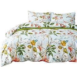 Bettwäsche 200x200 Blau 3 Teilig für Doppelbett Blumen Pflanze Muster Baumwolle-Mischgewebe 1 Bettbezug und 2 Kopfkissenbezüge(80 x 80cm)