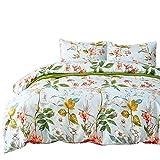 Luofanfei Bettwäsche Bettbezug Jugendliche 155x200CM Blumen Blatt Muster, 1 Bettdeckenbezug aus Microfiber mit 1 Kissenbezug