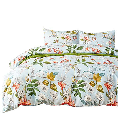 Luofanfei Bettwäsche Blumenmuster 135x200 Polyester für Einzelbett Blätter Pflanzen Muster -1 Bettbezug +1 Kopfkissenbezug 80 x 80cm Blau