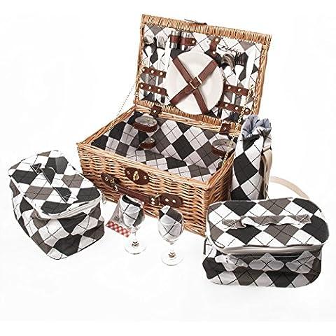 Savisto–2cestino da picnic in vimini con set da picnic, piatti,