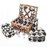 Savisto–2cestino da picnic in vimini con set da picnic,...