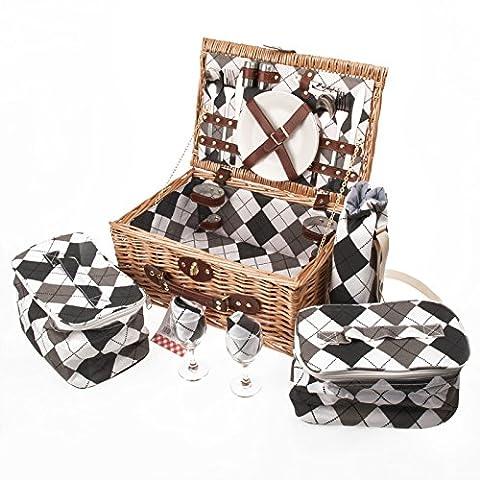savisto Panier de pique-nique en osier 2personnes de luxe avec Full Set pique-nique avec assiettes, couverts, verres à vin, refroidisseur, Sacs & Seau à Vin