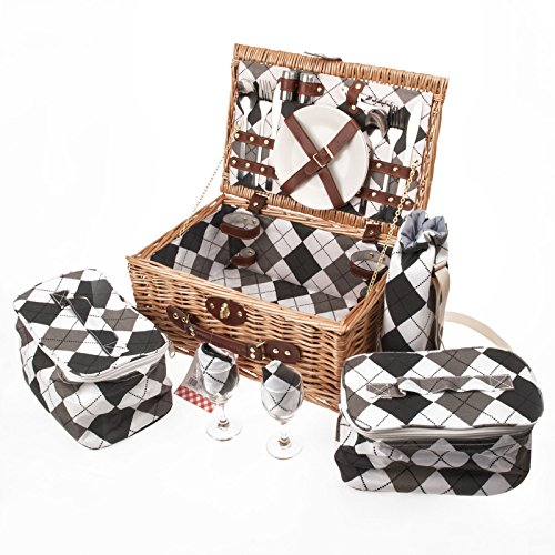 Savisto–2cestino da picnic in vimini con set da picnic, piatti, posate, bicchieri da vino Cooler Sacchetti e vino
