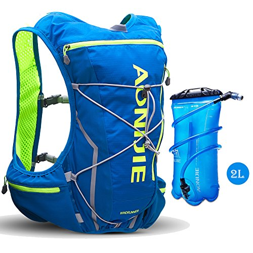 Imagen de aonijie  ligera 10l ultraligero impermeable al aire libre de viaje senderismo camping   con vejiga de agua 2l, azul/verde