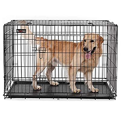 FEANDREA Dog Puppy Cage Foldable Metal Pet Carrier 2 Doors with Tray L-XXXL by FEANDREA